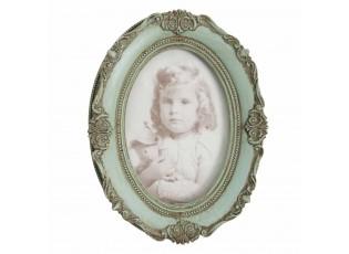 Zelený antik fotorámeček s ornamenty - 15*20 cm / 10*15 cm