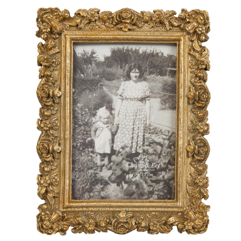 Zlatý fotorámeček s růžemi - 15*20 cm / 10*15 cm