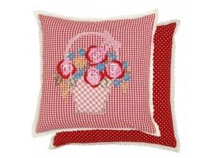 Povlak na polštář Flower Basket red s výšivkou - 40*40cm