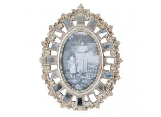 Stříbrný antik fotorámeček se zrcadly - 20*2*26 cm / 10*15 cm