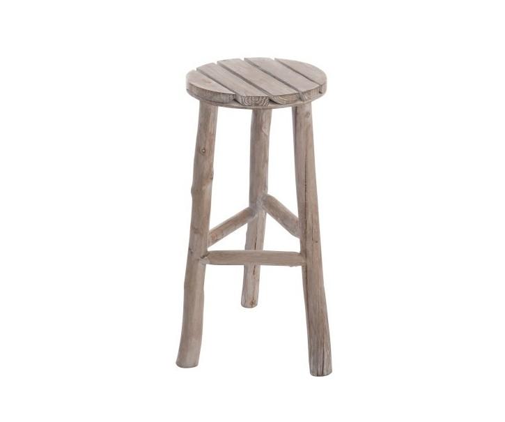 Dřevěná stolička přírodní s bílou patinou - Ø 40*53 cm