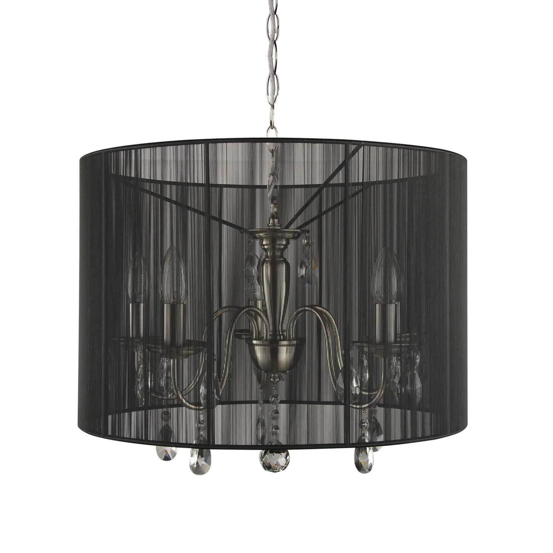 Černý kulatý lustr Merel - Ø50 x 120 cm / 5*E14