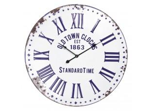 Bílo - modré plechové hodiny - Ø 57*4 cm / 1*AA