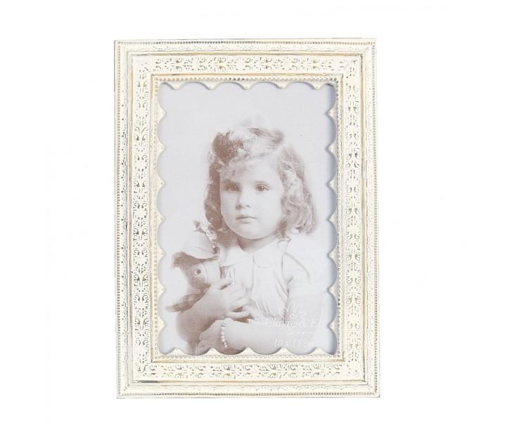 Bílý fotorámeček s patinou - 14*19cm/ 10* 15 cm