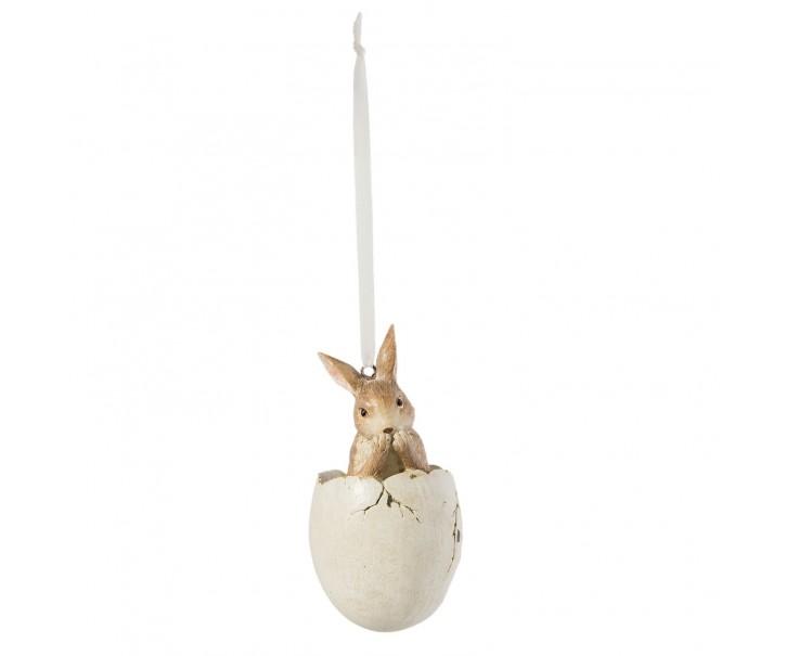 Závěsná velikonoční dekorace zajíček ve vajíčku - Ø 5*10 cm