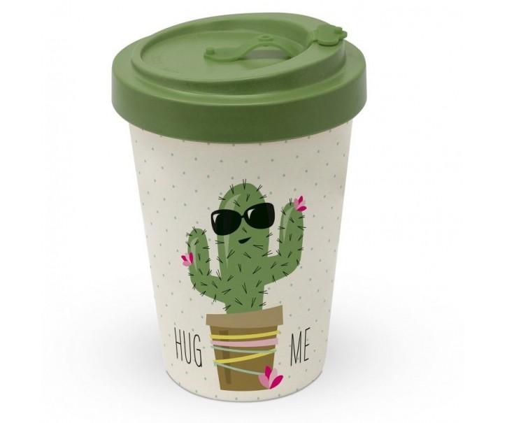 Cestovní bambusový termohrnek Hug Me Cactus - 400ml