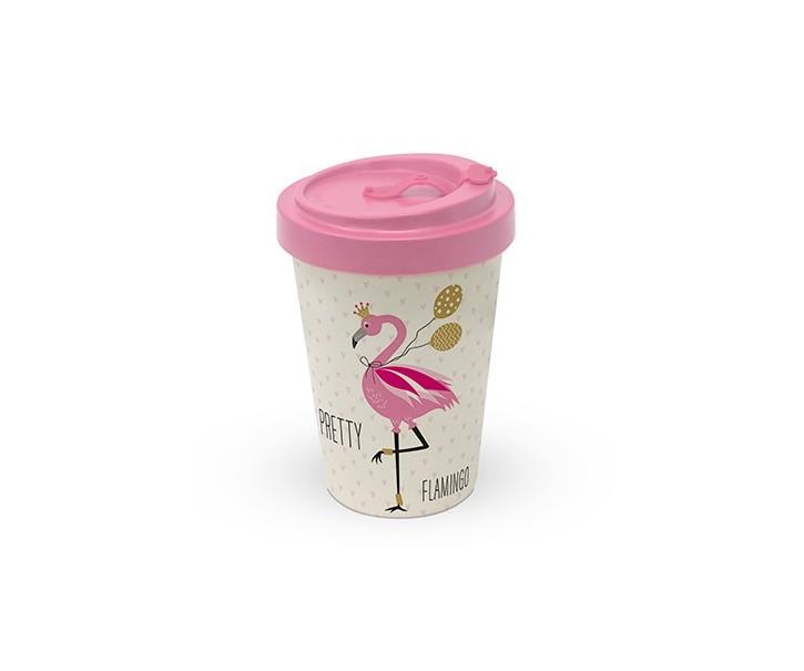 Cestovní bambusový termohrnek Pretty Flamingo - 400ml