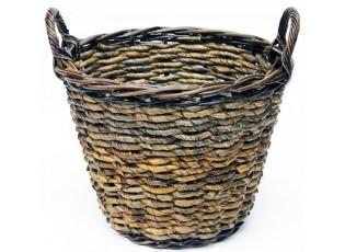 Kulatý ratanový košík/květináč s uchy - Ø39*30 cm