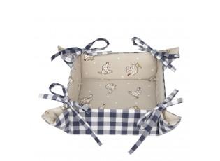 Modrý textilní košíček na pečivo Lucky Chicken - 35*35*8 cm