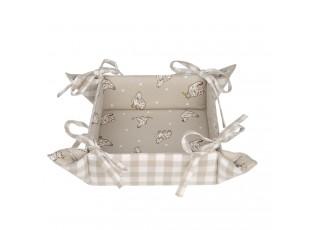 Bežový textilní košíček na pečivo Lucky Chicken - 35*35*8 cm