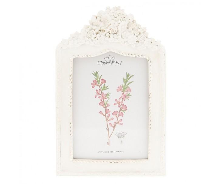 Bílý fotorámeček s květy - 17*2*27 cm / 13*18 cm