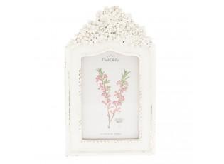 Bílý fotorámeček s květy - 15*2*24 cm / 10*15 cm
