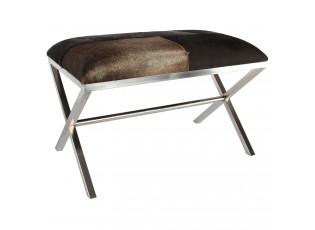 Kovová lavice Gotta s koženým sedákem - 75 * 45 *50 cm