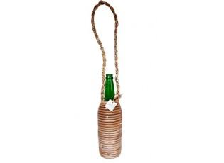 Skleněná zelená láhev na zavěšení - Ø 8*29 cm