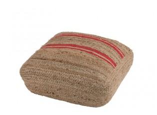 Puff Stripe jutový - 60*60*20 cm