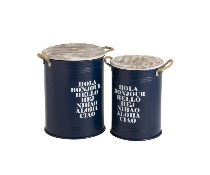 Set 2 modrých odkladacích stolíkov Buckets