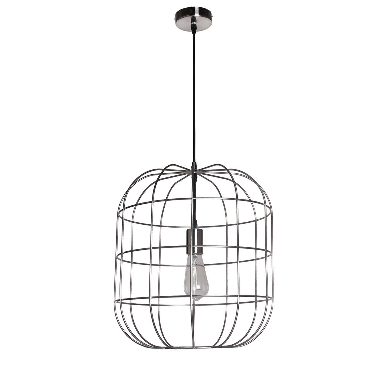 Levně Collectione Stříbrné závěsné kovové světlo Olaf - Ø40 x 45 cm