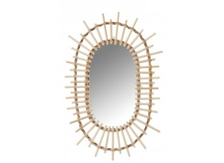 Přírodní oválné zrcadlo Sun - 30*2*50 cm