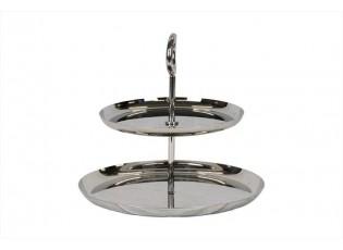 Kovový stříbrný dvoupatrový etažér  - Ø 27*24 cm