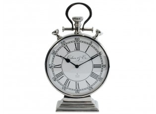 Stolní kovové stříbrné hodiny - 26*10*44cm