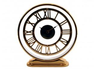 Stolní kovové zlaté hodiny - 30*6*32cm