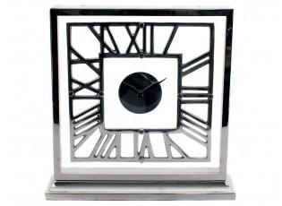 Stolní kovové stříbrné hodiny - 34*9*34cm