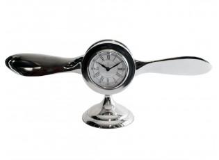 Stolní kovové stříbrné hodiny vrtule  - 58cm