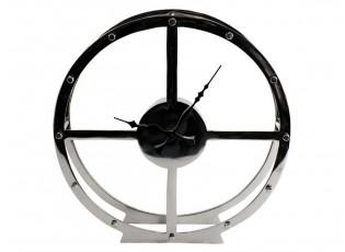 Stolní kovové stříbrné hodiny - 35cm