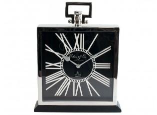 Stolní kovové stříbrné hodiny - 34cm