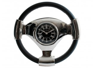 Stolní kovové stříbrné hodiny volant - 31cm