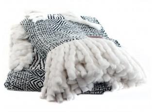 Černo-bílý pléd Mown- 125*150cm