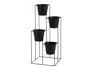 Černý kovový stojan na květiny s květináčky - 39*39*90cm