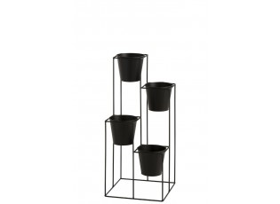 Černý kovový stojan na květiny s květináčky - 30*30*70cm