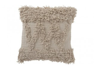 Béžový polštář Zigzag s třásněmi  - 45*45 cm