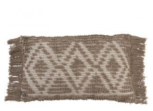 Béžový polštář Rhombus s třásněmi  - 30*50 cm