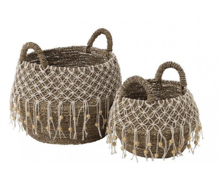 Set 2 košů z mořské trávy Caribbean- Ø 40*45 cm