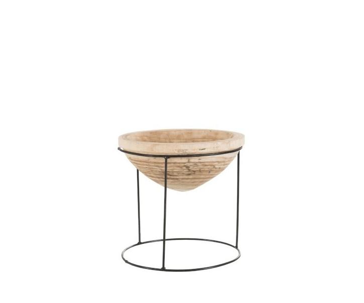 Dřevěná miska na kovovém podstavci - Ø 35*36 cm