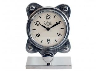 Stolní kovové stříbrné hodiny - 19cm