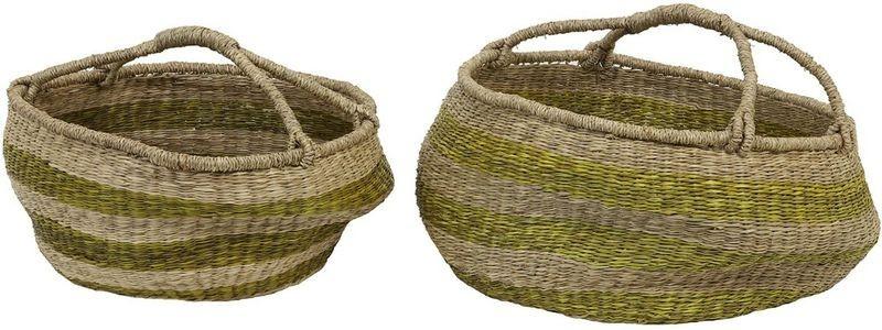 Set 2 košů z mořské trávy Afula sand - Ø50*22+Ø60*26