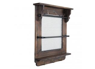 Nástěnná dřevěná police s háčky - 50*9*59 cm