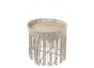 Kovový odkládací Boho stolek Ecru  - Ø 43*45cm