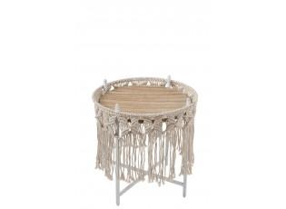 Kovový odkládací Boho stolek Ecru  - Ø 37*40cm