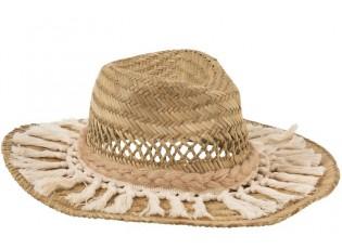 Slaměný klobouk s třásněmi  - 38*12cm