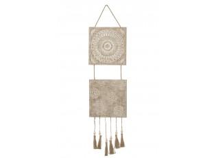 Dřevěná nástěnná cedule s třásněmi - 25*2*98cm