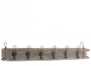 Nástěnný dřevěný věšák s háčky  - 98*7*15cm