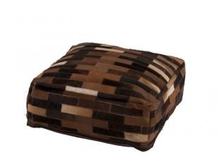 Puff Chalet z kožených dílků - 60*60*20cm