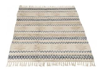 Krémovo-modrý koberec Denim s třásněmi - 120*180cm