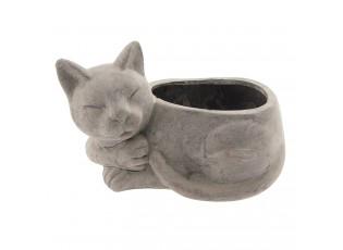 Šedý květináč Kočka  - 26*15*16 cm