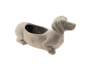 Šedý květináč pes Jezevčík - 30*12*16 cm