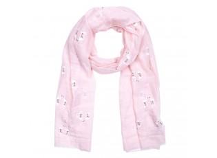 Růžový šátek s plameňáky - 70*180 cm
